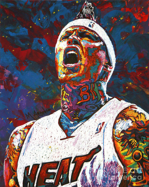 Chris Andersen Poster featuring the painting The Birdman by Maria Arango