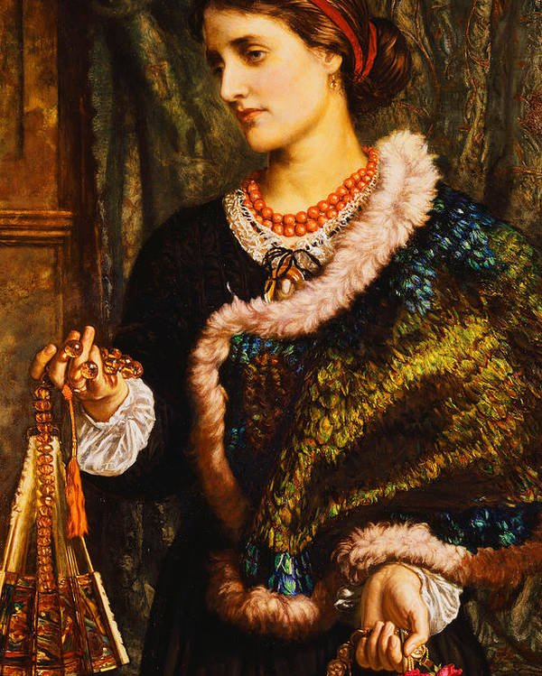 Accessory; Apparel; Artwork; Attire; British Art; Brunette; Caucasian; Clothing; Color; Dark Hair; Dress; Fine Art; Flowers; Front View; Fur; Hair Band; Half-length; Indoor; Jewlery; Marion Edith Waugh; Melancholy; Memory; Necklace; Nostalgic; Oil; Only; Painting; People; Person; Personal Accessory; Portraiture; Posture; Pre Raphaelite; Red; Reminiscence; Rose; Sadness; Victorian Pictures; Watch; William Holman Hunt; Wistful; Women; Young; Poster featuring the painting The Birthday by William Holman Hunt