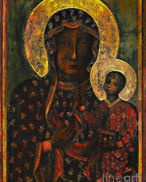 Poland Poster featuring the painting The Black Madonna by Andrzej Szczerski