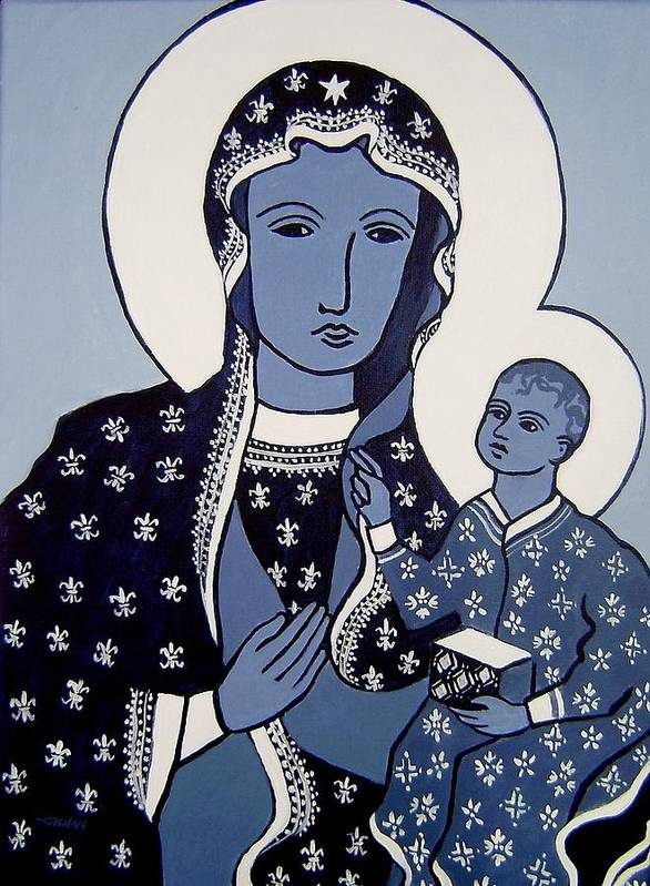 Madonna Poster featuring the painting The Black Madonna In Blue by John Nolan