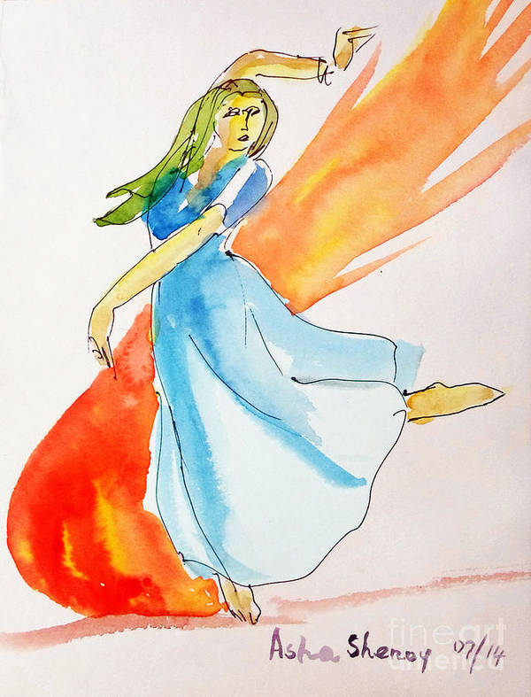 Dancer Poster featuring the painting The Blazing Dancer by Asha Sudhaker Shenoy