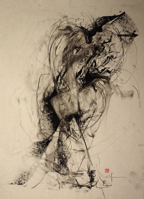 Sensuality Poster featuring the drawing The Blur Between Large And Her Warmth by John Arthur Ligda