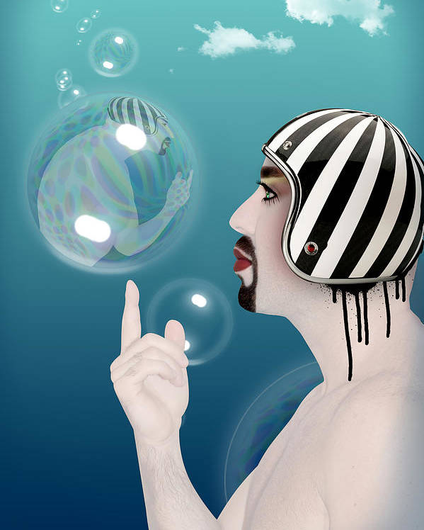 Funny Poster featuring the digital art the Bubble man by Mark Ashkenazi