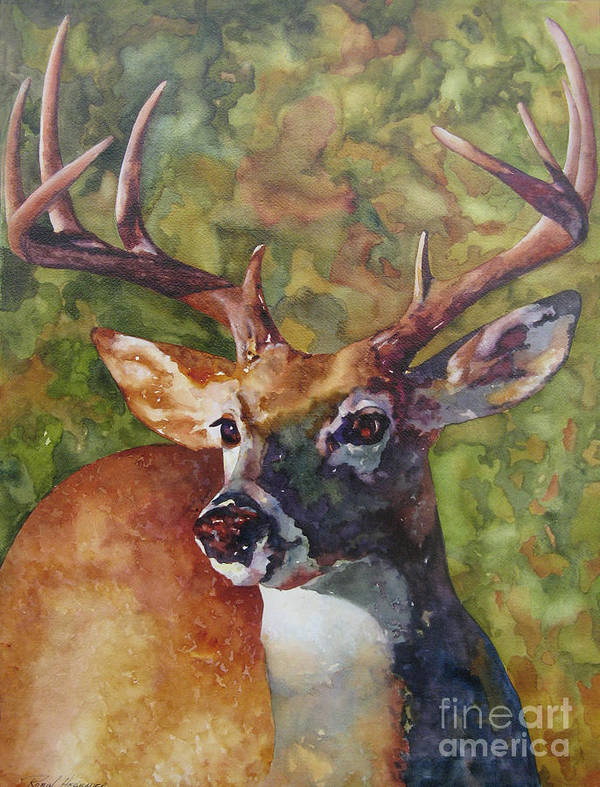 Deer Poster featuring the painting The Buck Stops Here by Robin Hegemier