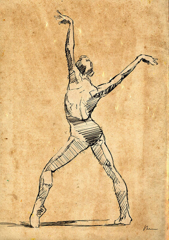 Ballet Poster featuring the drawing The Button by H James Hoff