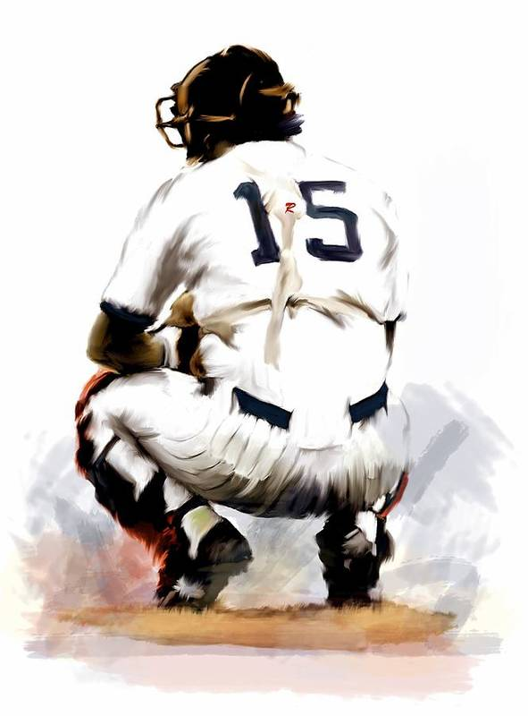Thurman Munson Paintings David Pucciarelli Iconic Images Art Gallery 414 Main Street Boonton Nj Poster featuring the painting The Captain Thurman Munson by Iconic Images Art Gallery David Pucciarelli