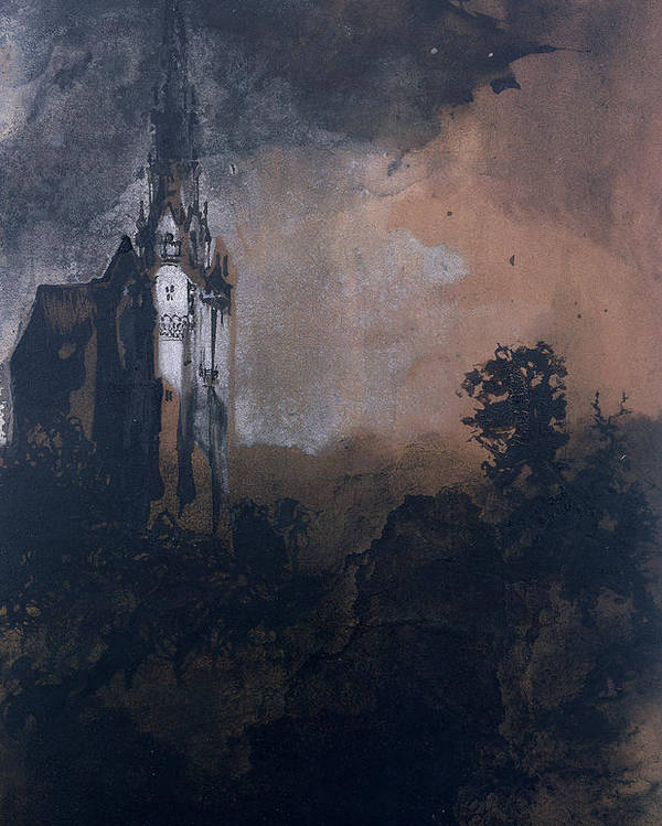 Victor Hugo Poster featuring the painting The Castle In The Moonlight by Victor Hugo