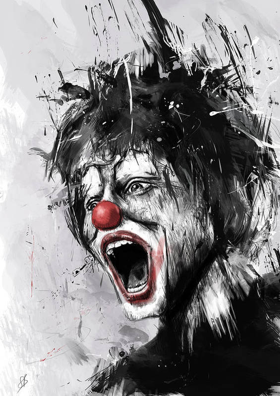 Clown Poster featuring the digital art The Clown by Balazs Solti