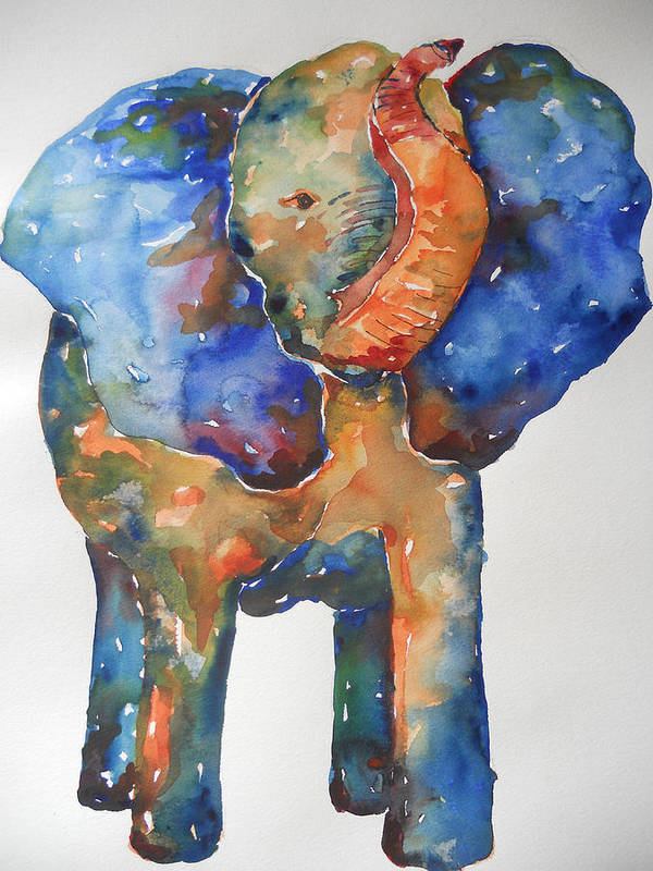 Impressionism Poster featuring the painting The Colorful Elephant by Brandi Hickman