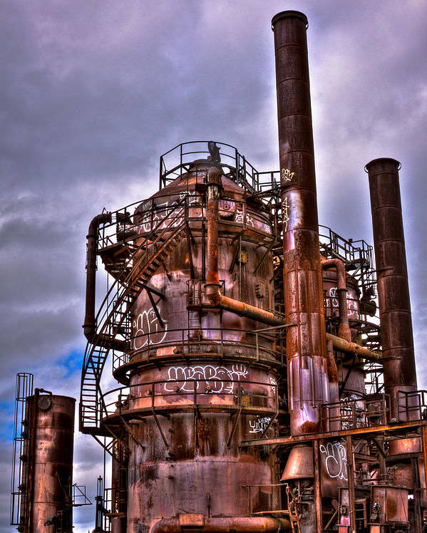 Gasworks Park Poster featuring the photograph The Compressor Building At Gasworks Park - Seattle Washington by David Patterson