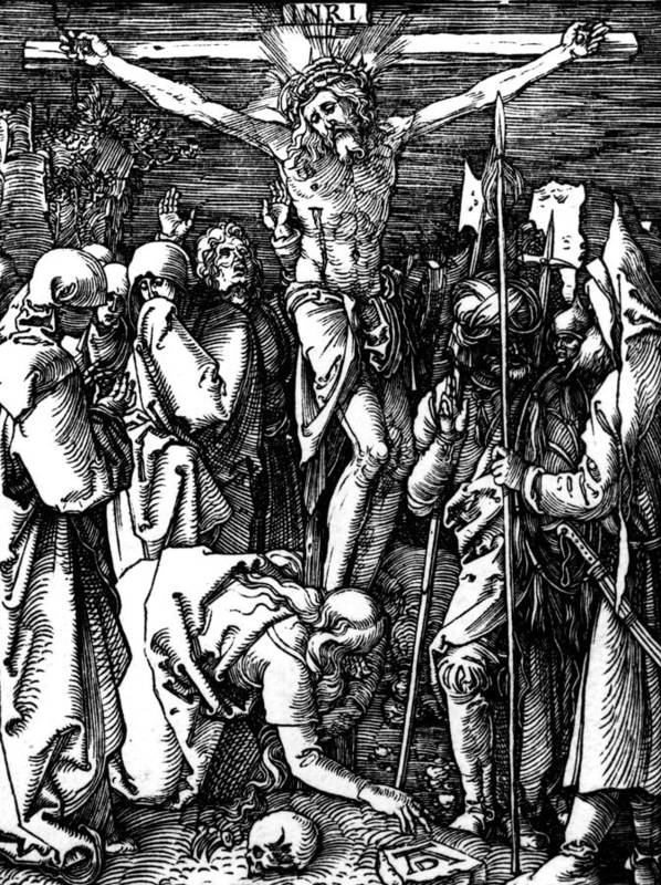 Jesus Poster featuring the drawing The Crucifixion by Albrecht Durer