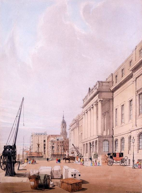 The Custom House Poster featuring the drawing The Custom House, From London by Thomas Shotter Boys