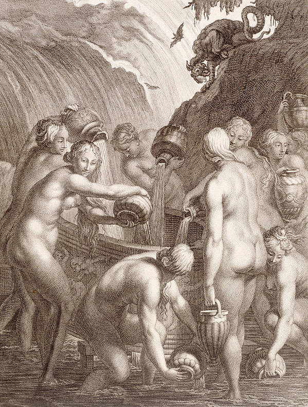Picart Poster featuring the painting The Danaids Condemned To Fill Bored Vessels With Water by Bernard Picart