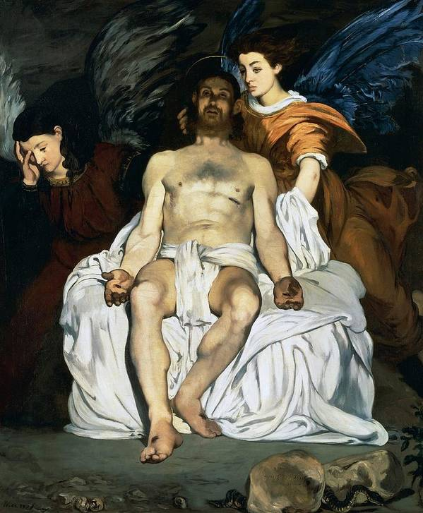 Painting Poster featuring the painting The Dead Christ And Angels by Edouard Manet