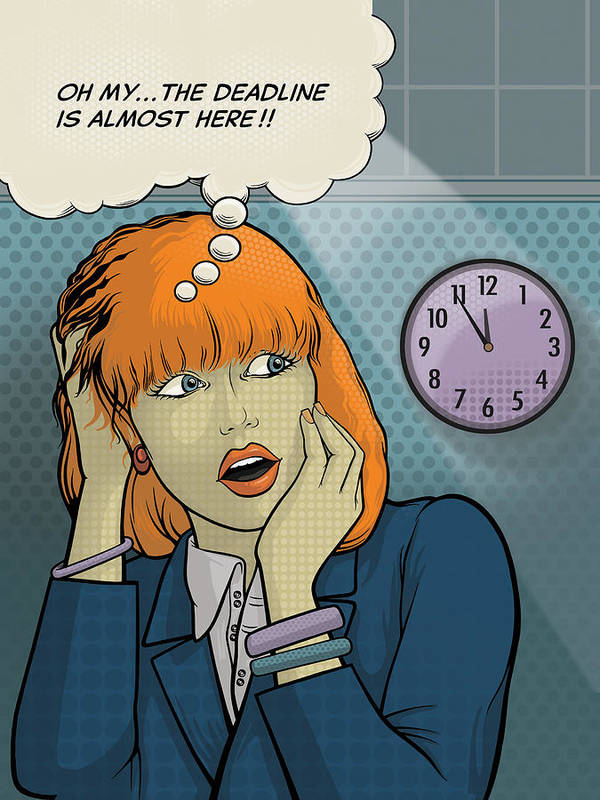 Thought Bubble Poster featuring the digital art The Deadline by Dennis Wunsch