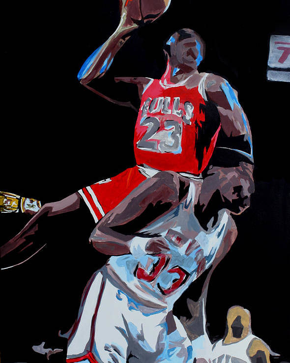 Michael Jordan Poster featuring the drawing The Dunk by Don Medina