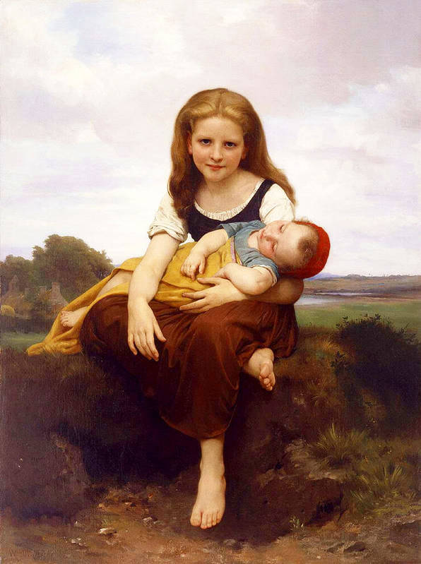 The Elder Sister Poster featuring the painting The Elder Sister by William-Adolphe Bouguereau