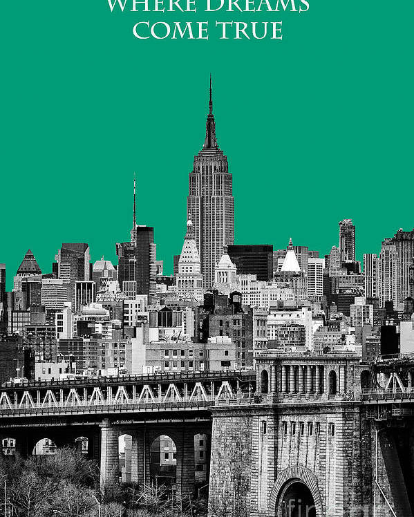 New York Canvas Poster featuring the photograph The Empire State Building Pantone Emerald by John Farnan