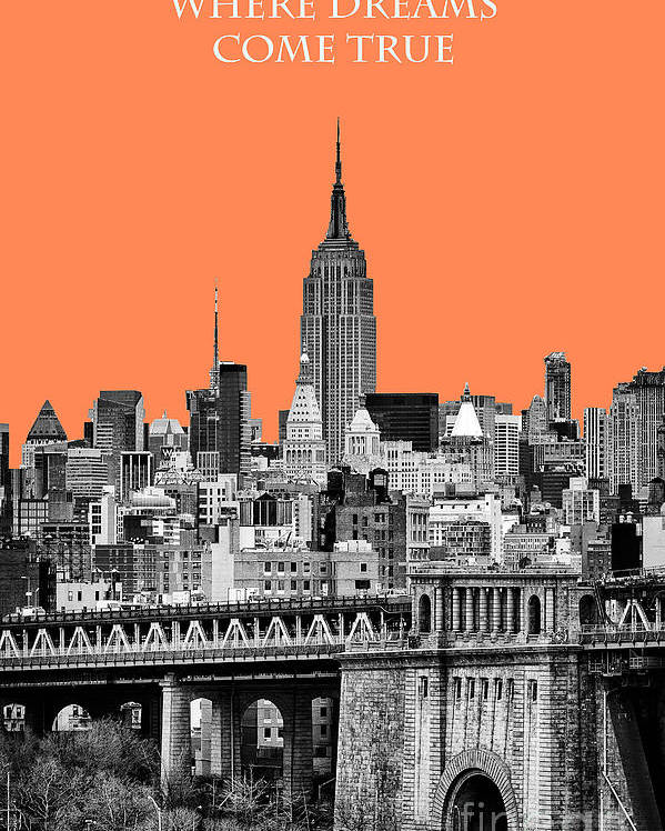 New York Canvas Poster featuring the photograph The Empire State Building Pantone Nectarine by John Farnan