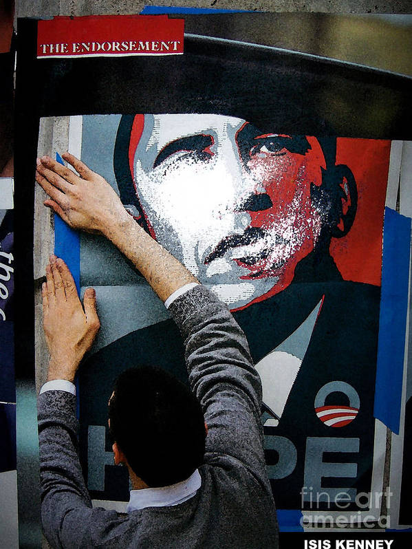 Isis Kenney Hip Hop Fine Art Collage Barack Obama Poster featuring the mixed media The Endorsement by Isis Kenney
