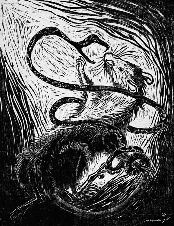 Rat Poster featuring the relief The Enemy Within by Maria Arango Diener