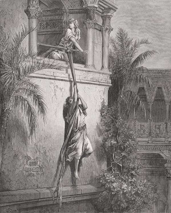 Celia Poster featuring the painting The Escape Of David Through The Window by Gustave Dore