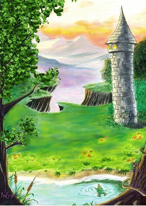 Fairy Tales Poster featuring the painting The Fairy Tale Tower by Brad Simpson