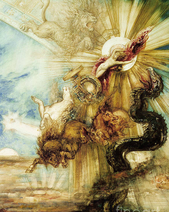 Symbolist; Greek; God; Chariot; Monster; Sun; Scorpio; Lion; Leo; Cabinet Des Dessins; Constellation; Zodiac; Youth; Terror; Phaeton; Son Of Helios; Drives Sun Chariot Too Close To Earth; Killed By Thunderbolt From Zeus To Prevent Disaster Poster featuring the painting The Fall Of Phaethon by Gustave Moreau