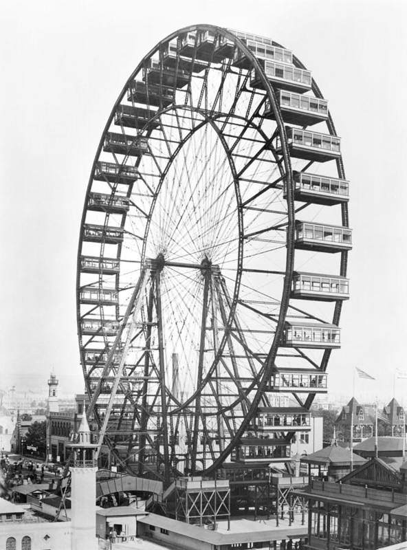 Fairground Poster featuring the photograph The Ferris Wheel At The Worlds Columbian Exposition Of 1893 In Chicago Bw Photo by American Photographer