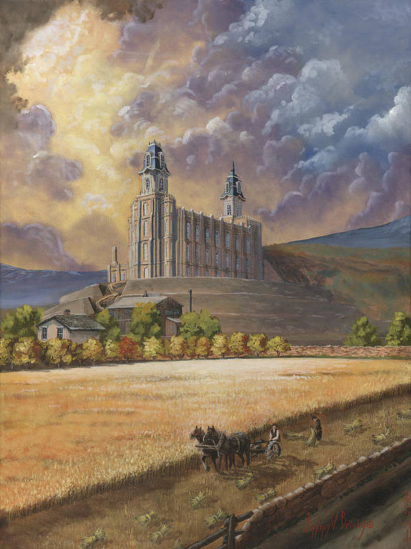Manti Temple Poster featuring the painting The Field Is White by Jeff Brimley