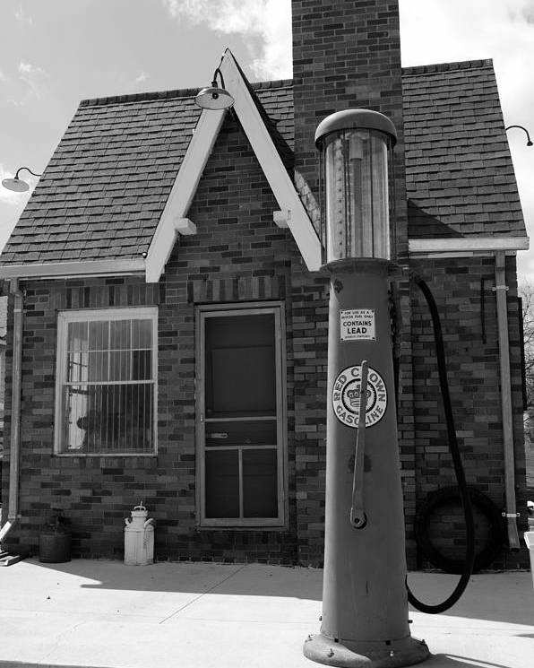 Gas Station Poster featuring the photograph The Filing Station Bw by Wendy Hansen-Penman