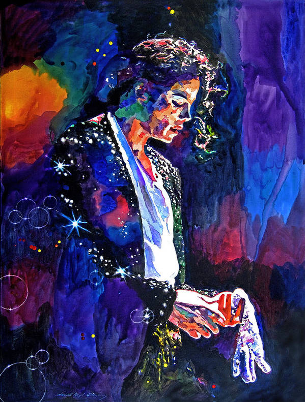 Michael Jackson Poster featuring the painting The Final Performance - Michael Jackson by David Lloyd Glover