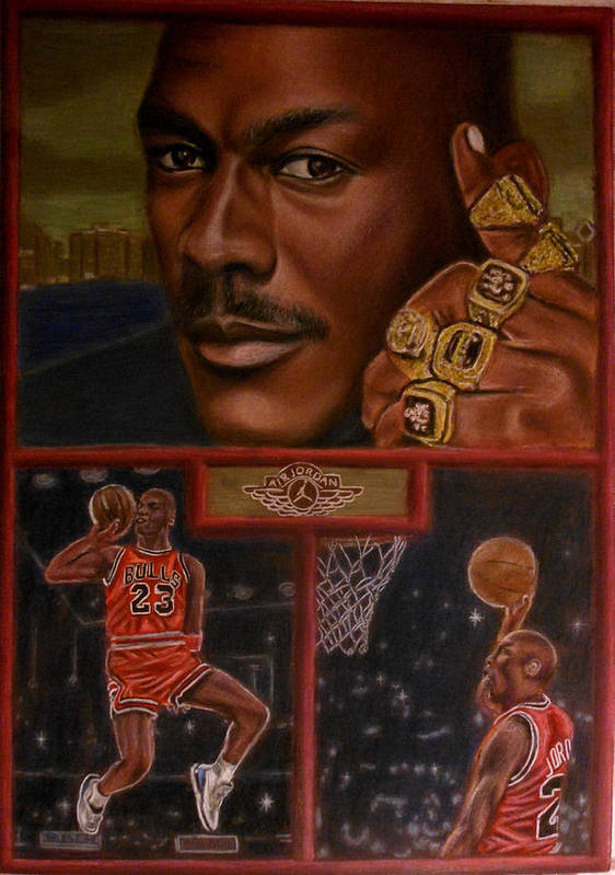 Sports Poster featuring the painting The Flight Instructor Feat Michael Jordan by D Rogale