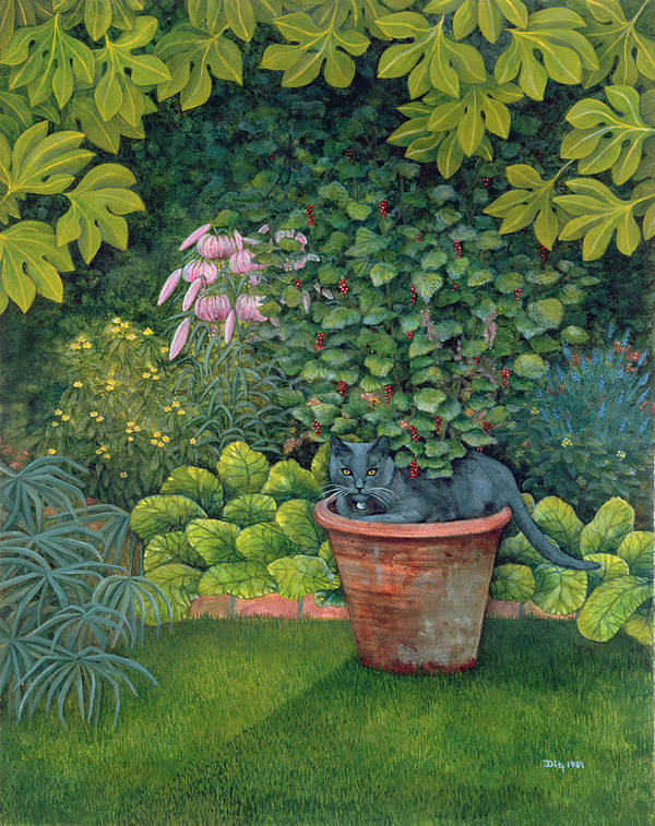 Cat Poster featuring the painting The Flower Pot Cat by Ditz