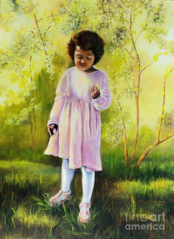 Little Girl Poster featuring the painting The Forsythia by Marlene Book