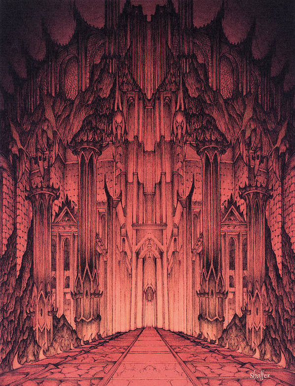 Barad Dur Poster featuring the mixed media The Gates Of Barad Dur by Curtiss Shaffer