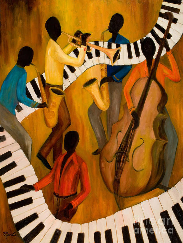 Jazz Poster featuring the painting The Get-down Jazz Quintet by Larry Martin