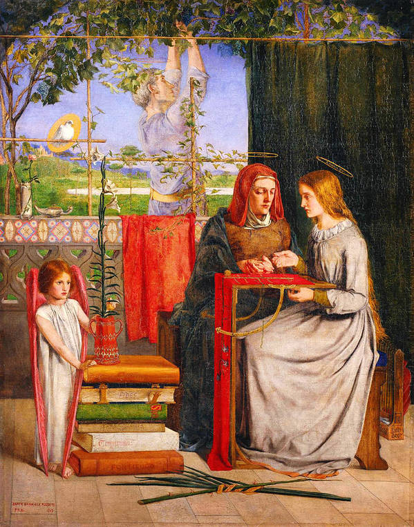 Dante Gabriel Rossettithe Girlhood Of Mary Virgin Poster featuring the painting The Girlhood Of Mary Virgin by Celestial Images