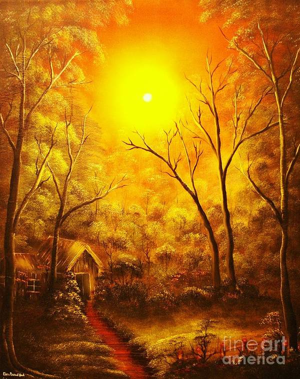 Golden Poster featuring the painting The Golden Dream-original Sold-buy Giclee Print Nr 31 Of Limited Edition Of 40 Prints by Eddie Michael Beck