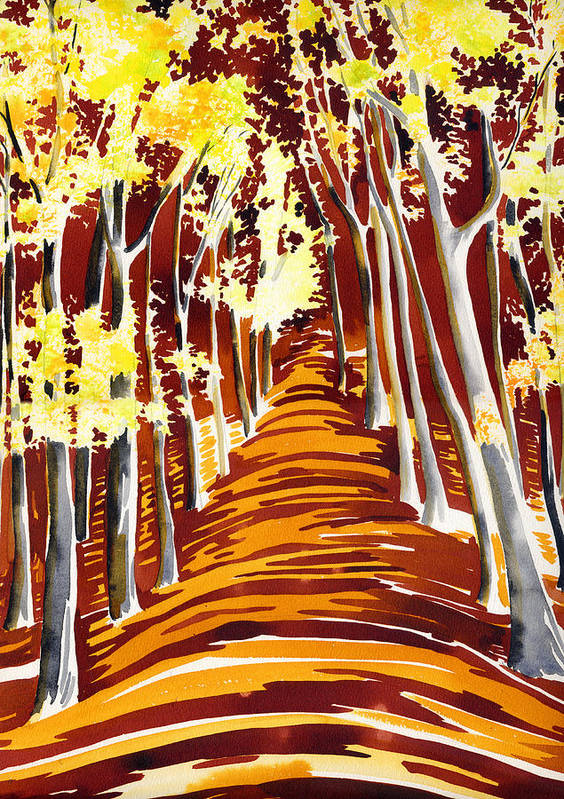 Landscape Poster featuring the painting The Golden Way by Kate Shannon