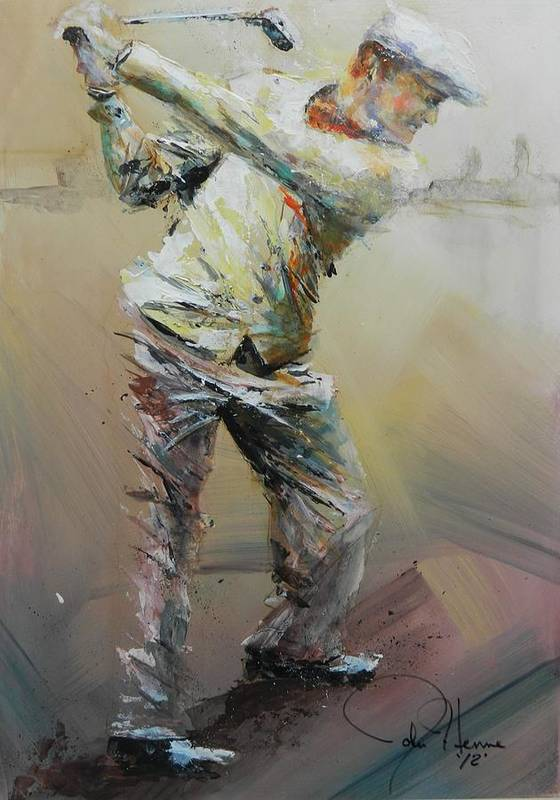 Golf Poster featuring the painting The Good Old Days by John Henne