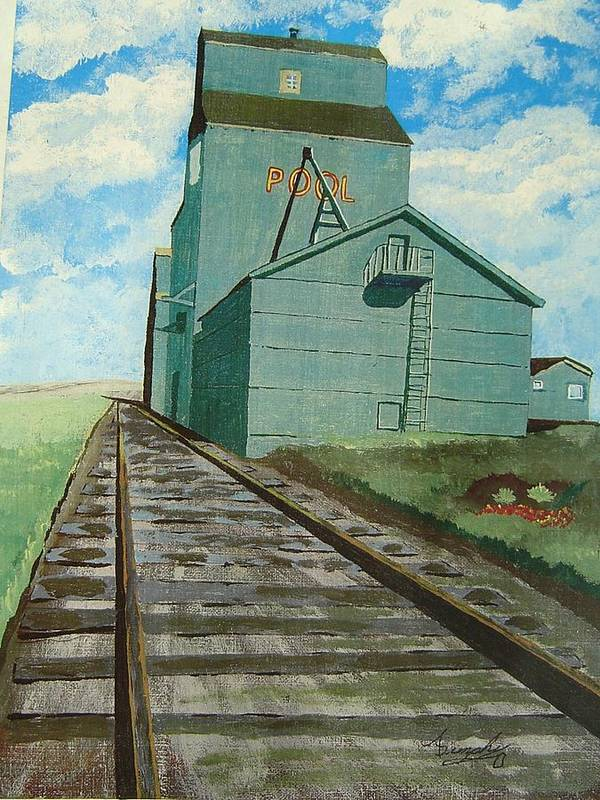 Elevator Poster featuring the painting The Grain Elevator by Anthony Dunphy
