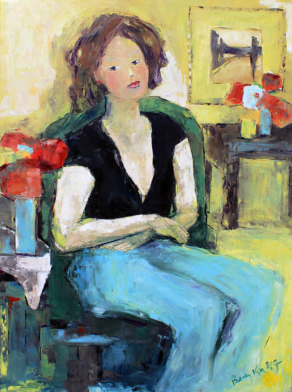 Portrait Poster featuring the painting The Green Chair by Becky Kim