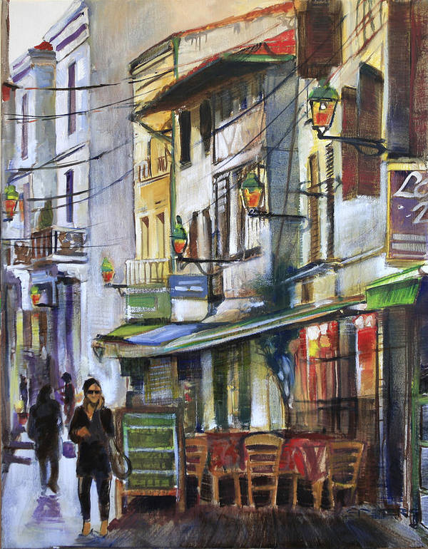 Landscape Poster featuring the painting The Green Lights Of Agen by Shirley Peters