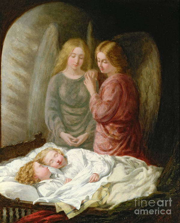 Sleeping Children; Benediction; Twins Poster featuring the painting The Guardian Angels by Joshua Hargrave Sams Mann