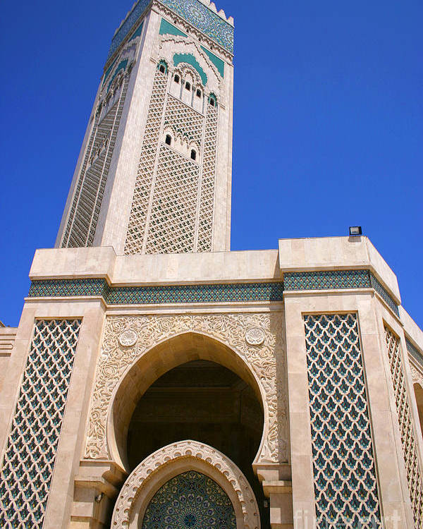 Hassan Ii Mosque Poster featuring the photograph The Hassan II Mosque Grand Mosque with the Worlds Tallest 210m Minaret Sour Jdid Casablanca Morocco by PIXELS XPOSED Ralph A Ledergerber Photography