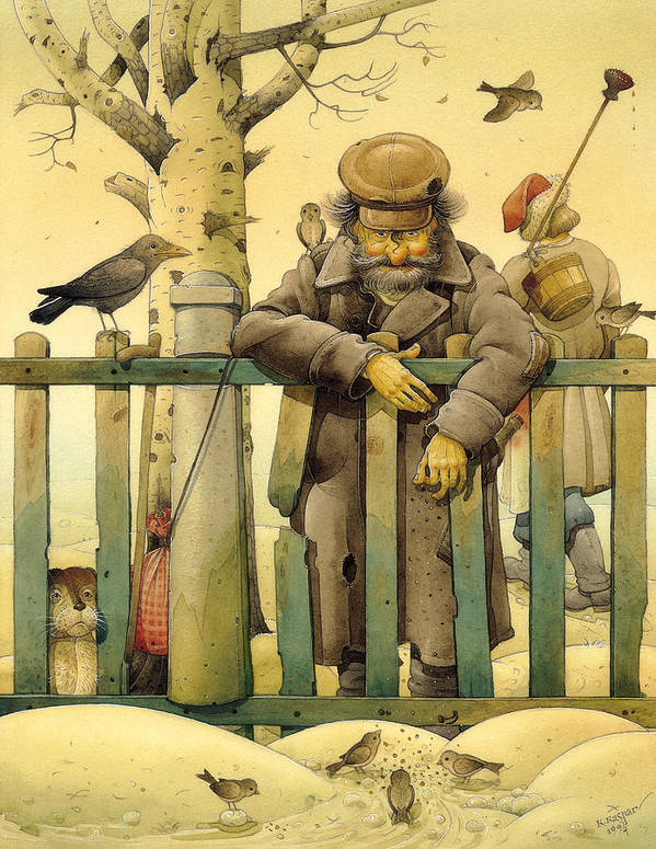 Russian Figures Winter Birds Dog Ladscape Holiday Christmas Poster featuring the painting The Honest Thief 02 Illustration For Book By Dostoevsky by Kestutis Kasparavicius