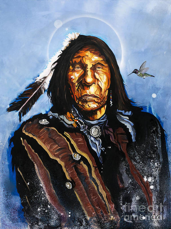 Southwest Art Poster featuring the painting The Hummingbird Shaman by J W Baker