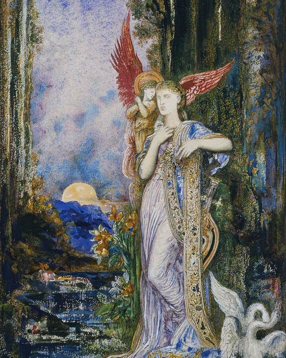 Angels; Moon; Female; Symbolism; Symbolist Poster featuring the painting The Inspiration by Gustave Moreau