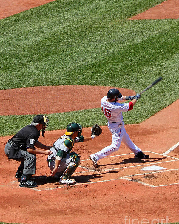 Fine Art America Poster featuring the photograph The Laser Show Dustin Pedroia by Tom Prendergast
